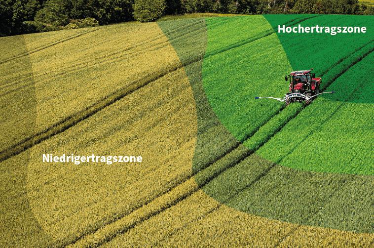 Unterschiedliche Ertragszonen in einem Feld (Teilflächenspezifische Düngung mit Pflanzensensoren)